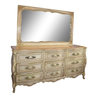 Vintage French Provincial Blond Bedroom Dresser and Mirror For Sale