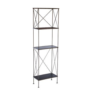 Slim Blackened Steel Etagere by Charleston Forge For Sale