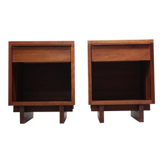 Pair of Vintage New England Solid Walnut Nightstands