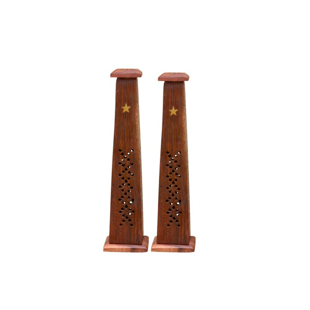 Wooden Incense Burner Towers With Brass Star Inlay, a Pair For Sale In Boston - Image 6 of 6