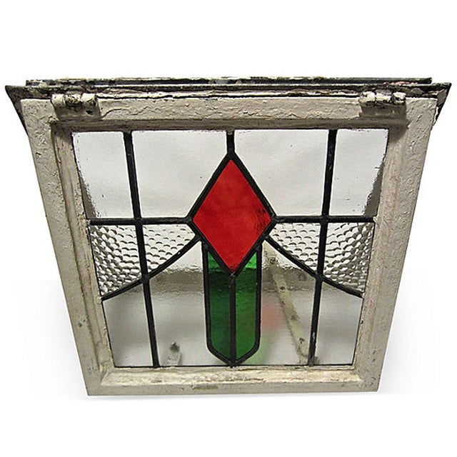 English Cottage Stained Glass Window For Sale