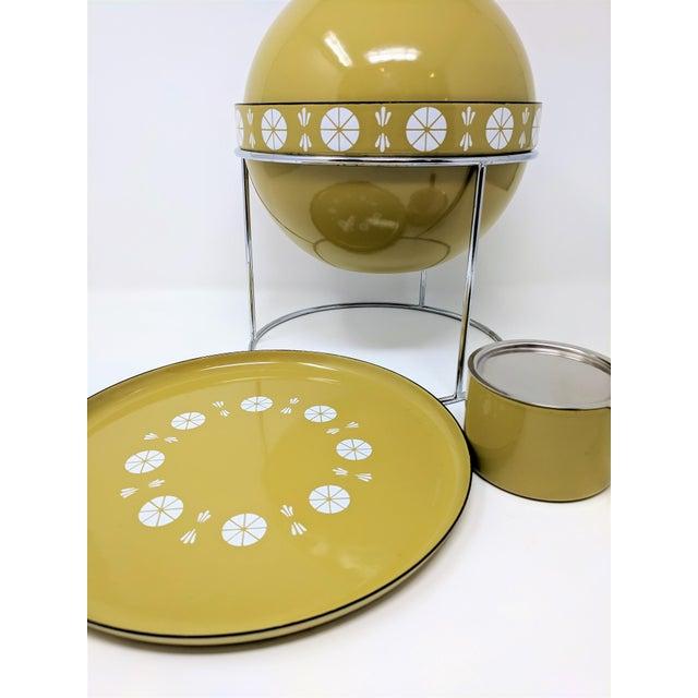 Cathrineholm 1960s Vintage Grete Prytz Kittelsen for Cathrineholm Enamel Lotus Fondue Set - 3 Pieces For Sale - Image 4 of 11