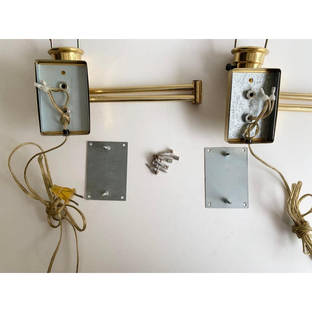 Vintage Double Swing Arm Brass Wall Lamps in the Manner of Hinson - a Pair For Sale - Image 12 of 13