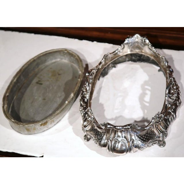 Silver Large 19th Century French Louis XV Oval Silver Plated Jardinière With Zinc Liner For Sale - Image 8 of 9