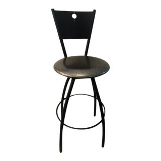 Contemporary Black Metal and Silver Glitter Trica Barstool For Sale