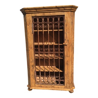 European Pine Wine Cabinet With Antique Wrought Iron Gate Door For Sale