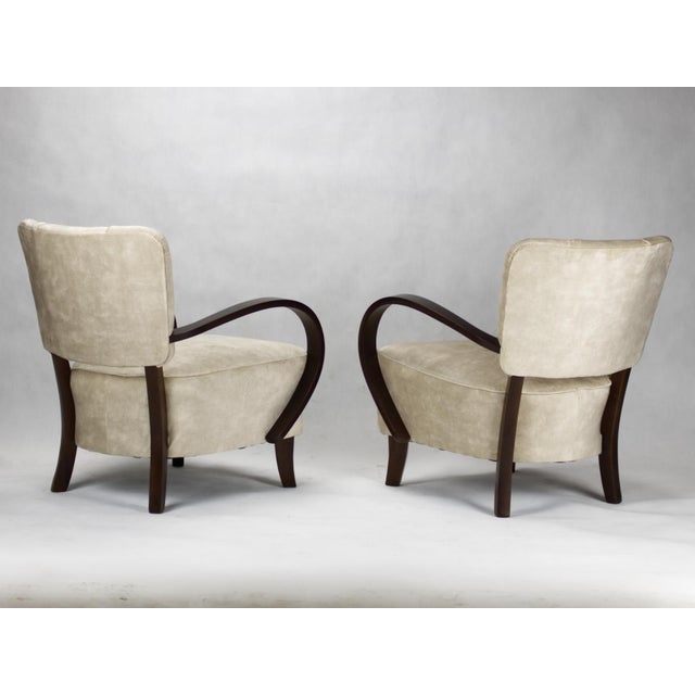 These armchairs, model H 237 were designed by Jindrich Halabala and produced in Czechoslovakia in the 1930s by UP Zavody...