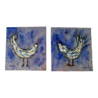 """""""Blue Birds With Tail Feathers"""" Paintings By Roberta Ann Busard - a Pair For Sale"""