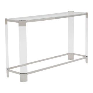 Mitchell's Gold + Bob Williams Contemporary Polished Nickel and Acrylic Console Table For Sale