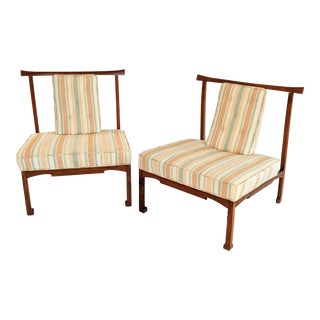 James Mont Style Asian Lounge Chairs - a Pair