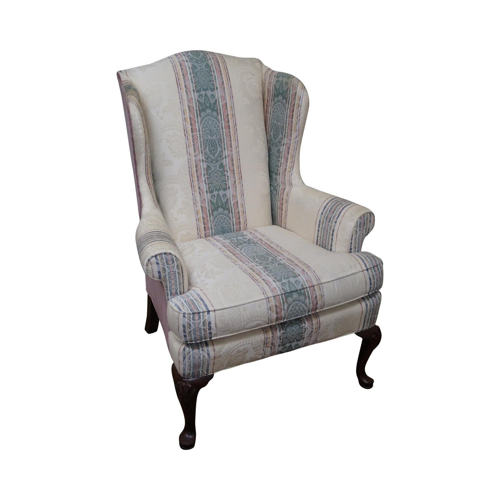 Highland House Hickory Queen Anne Wing Chair Chairish