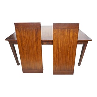 Henredon Mid-Century Asian Style Carved Mahogany Dining Table For Sale