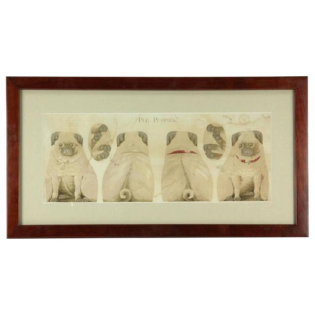 """Antique """"Pug Puppies"""" Printed Pillow Pattern For Sale"""