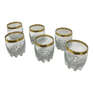 1960s Whiskey Glasses With Gold Rims - Set of 6 For Sale