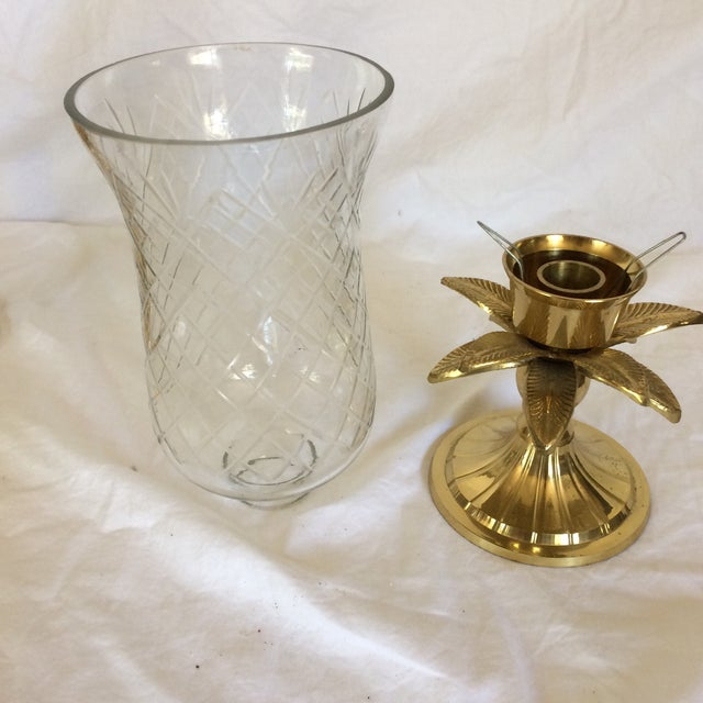 Vintage Etched Crystal & Brass Pineapple Design Candle Holders - a Pair - Image 8 of 11