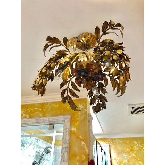 Maison Baguès Maison Bagues Style 3 Light Flush Mount Gilded Wrought Iron and Crystal Chandelier For Sale - Image 4 of 10