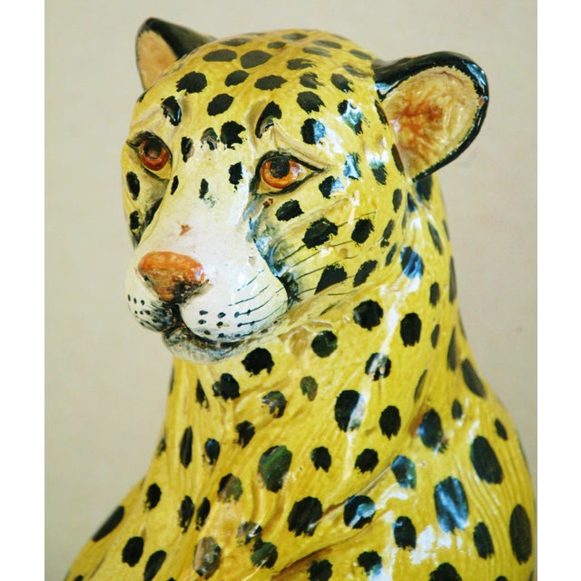 Large Hand-Painted Italain Terracotta Cheetah - Image 3 of 11