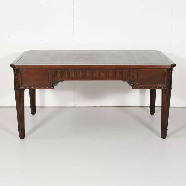 19th Century French Louis XVI Style Walnut Bureau Plat or Desk With Leather Top For Sale - Image 11 of 13