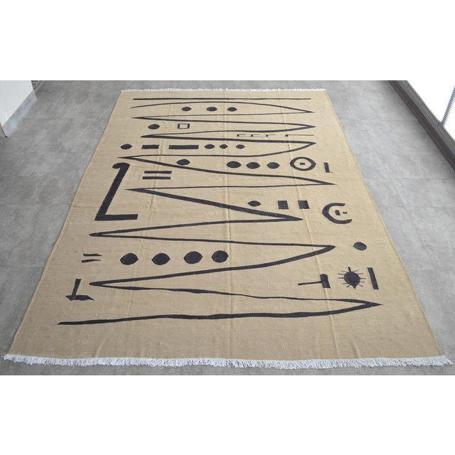 Contemporary Paul Klee - Heroic Strokes of the Bow - Inspired Silk Hand Woven Area - Wall Rug 5′11″ × 8′5″ For Sale - Image 3 of 12