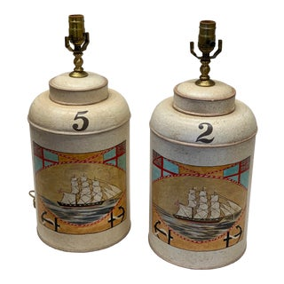 """1960s English Tea Caddy Lamp """"Boat"""" - a Pair For Sale"""