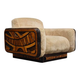 Router Cut Abstract Beige Lounge Chair For Sale