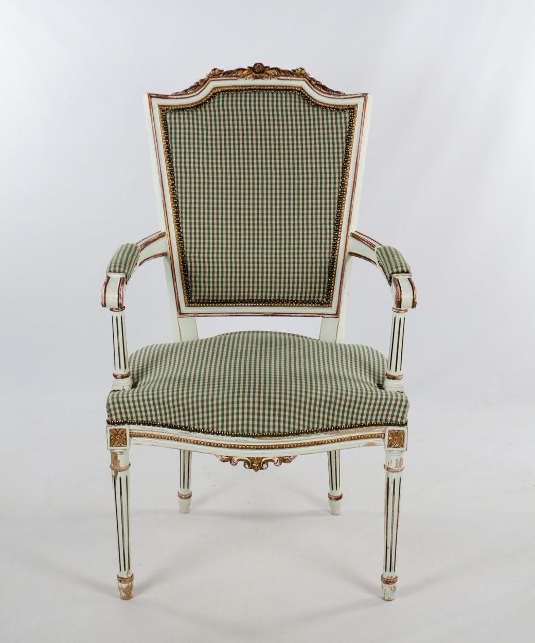 Early 20th Century Vintage French Style White And Plaid Upholstered