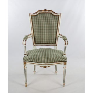 Early 20th Century Vintage French Style White and Plaid Upholstered Dining Chair Preview