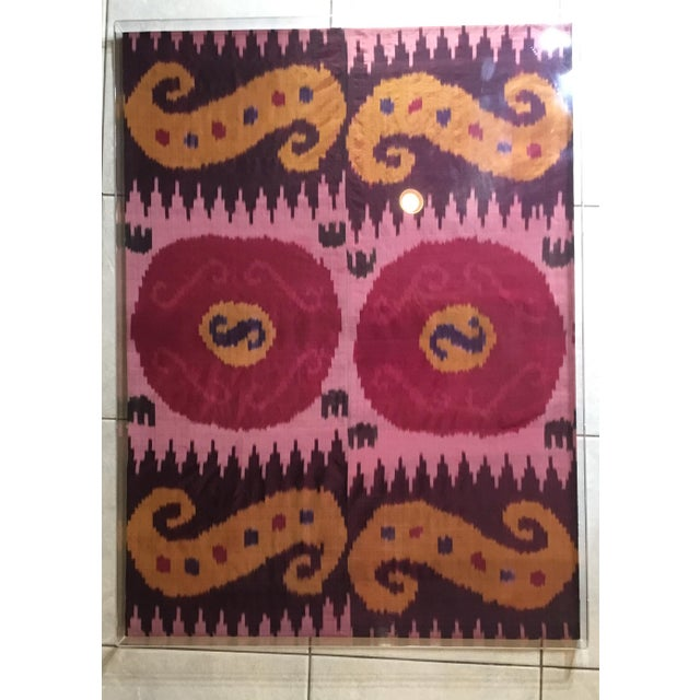 Antique Silk Ikat Display in Lucite Shadowbox For Sale - Image 12 of 13