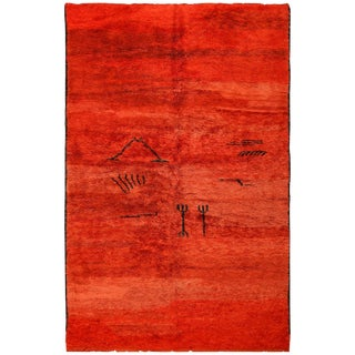 Vintage Tribal Moroccan Burnt Orange Rug - 6′2″ × 9′7″ For Sale