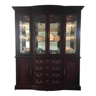 "Thomasville ""Trafalgar"" Cherry Finish Illuminated China Cabinet"