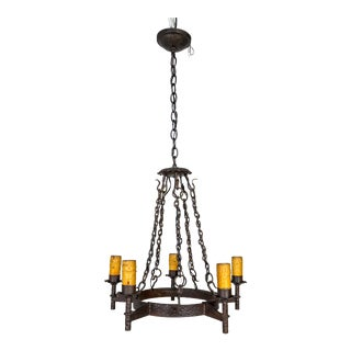 1910s Rustic Wrought Iron Medieval Revival 5-Light Chandelier For Sale