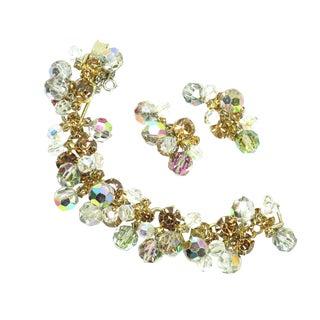 Mid-Century DeLizza & Elster Juliana Dangling Crystal Link Bracelet Set, 1960s For Sale