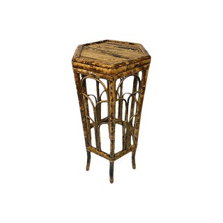Large Burnt Bamboo Plant Stand For Sale