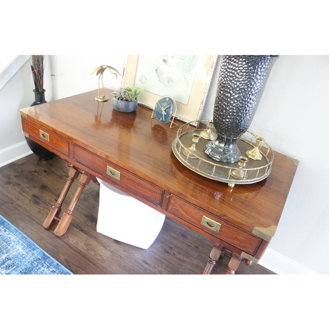 Campaign Style Rosewood & Brass Inlay Desk For Sale - Image 4 of 8