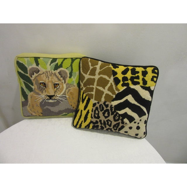1970's Safari Motif Hand Stitched Needlepoint Pillows - a Pair For Sale In Philadelphia - Image 6 of 6