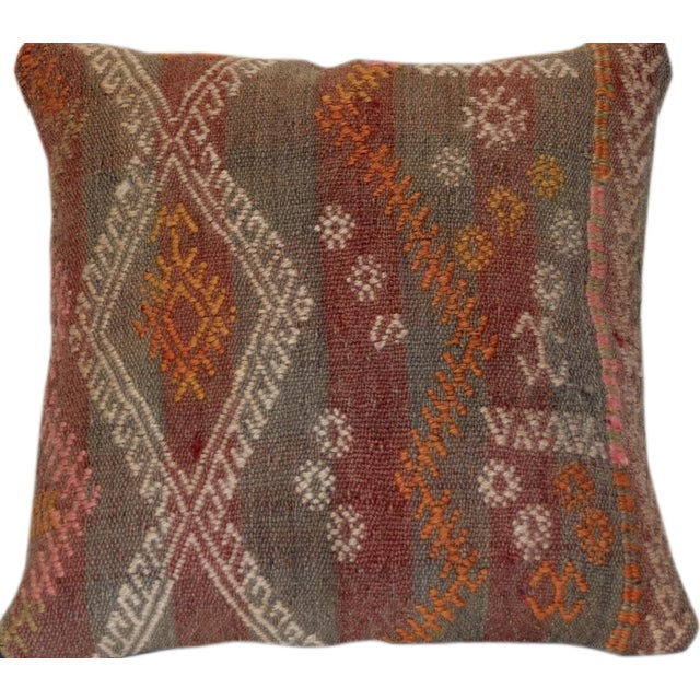 Red and Gray Vintage Handmade Wool Boho Pillow For Sale
