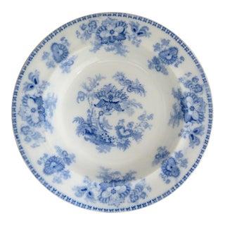 """Antique Davenport Flow Blue Soup Plate - """" Arabesque"""" - 1844 For Sale"""