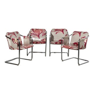 70's Floral Tubular Chrome Cantilever Sling Chairs - Set of 4 For Sale