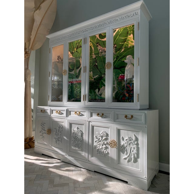 Asian style lighted china hutch by Ricardo Lynn finished in high gloss white lacquer and Dorothy Draper Brazilliance...