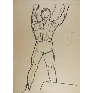 1950's Line Drawing Male Figure For Sale