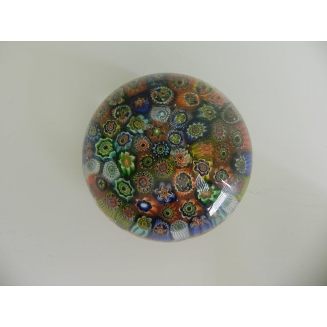 This Venetian Millefiori paperweight is an beautiful multicolored piece of Murano art glass. A Victorian-style stand...