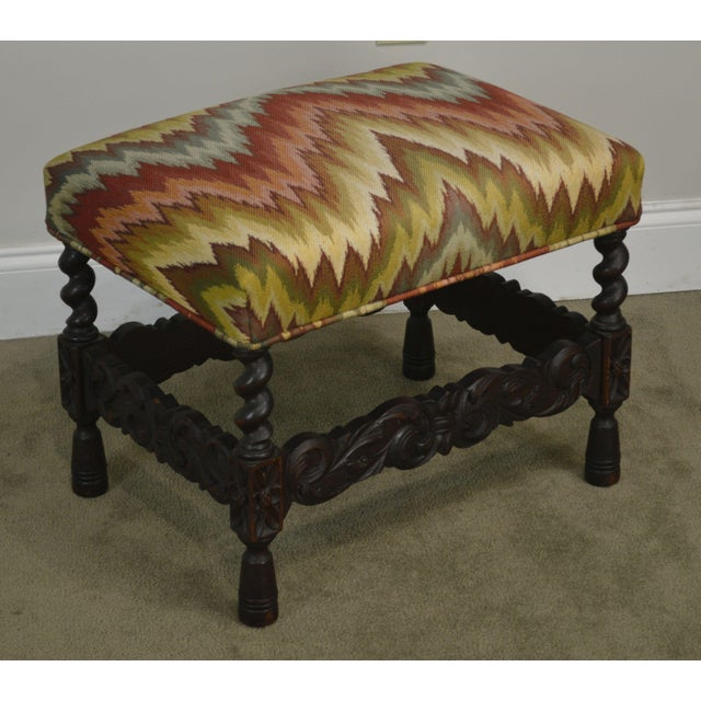High Quality Antique Early 20th Century Solid Oak Carved Stool with Flame Stitch Upholstered Seat