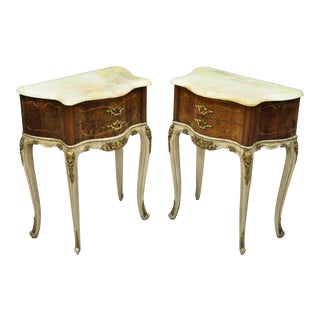 Early 20th Century Antique French Louis XV Style Bombe Nightstands - A Pair For Sale