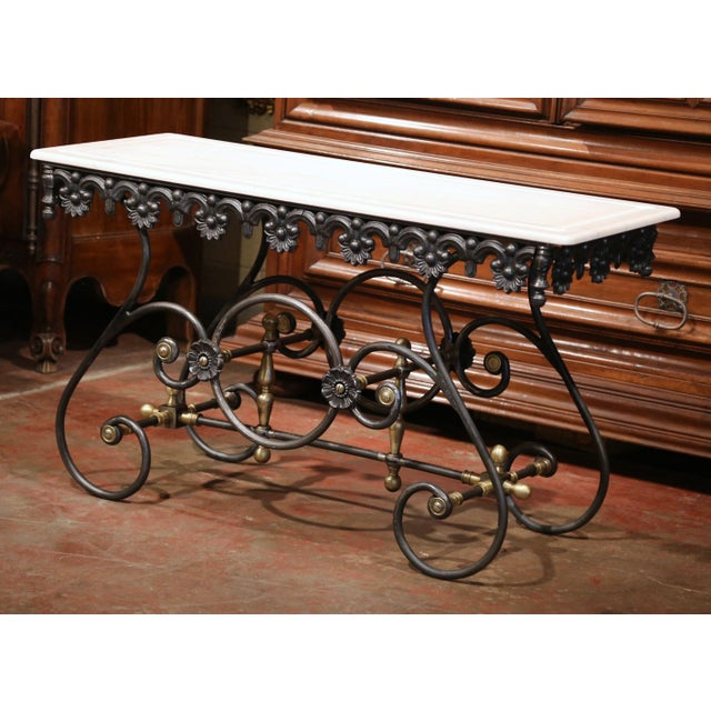 Polished Iron Butcher Pastry Table With Marble Top and Brass Finials From France For Sale In Dallas - Image 6 of 11
