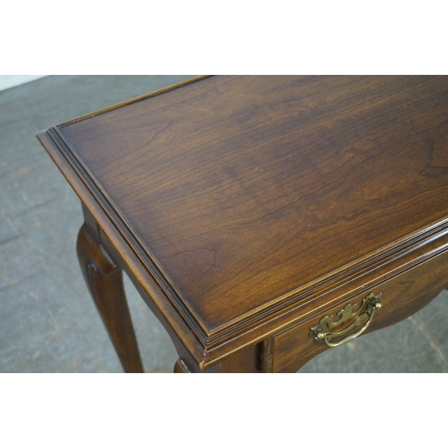 Drexel Heritage Queen Anne Style Cherry 2 Drawer Console Table - Image 10 of 10