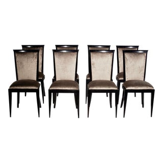 Mid Century Ebonized Dining Chairs With New Upholstery, Set of Eight For Sale