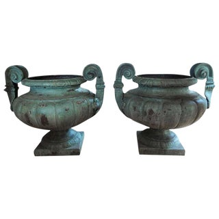 19th Century French Grecian Style Iron Urns - a Pair For Sale