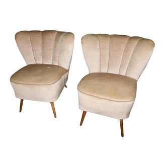 Vintage Mid Century Modern Boudoir Chairs- A Pair For Sale