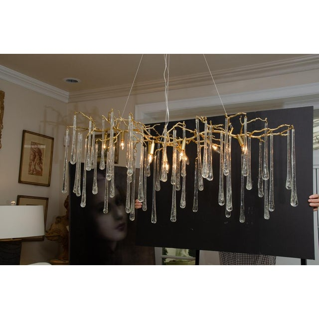 Modern Gilt Metal Chandelier With Crystal Drops For Sale - Image 3 of 10