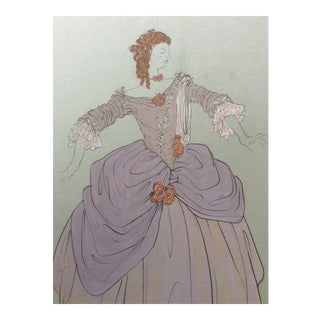 1950s Ball Gown Costume Design Painting For Sale